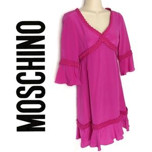 Moschino 100% Italian Silk Ruffle Trim Dress Sz 4